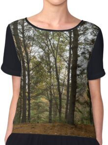 Lace and Needles - Evergreen Openwork in Autumn Forest Chiffon Top