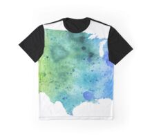Map of the United States with Watercolor Texture in Blue and Green Graphic T-Shirt