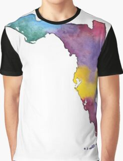Hand Painted Watercolor Map of the US State of Florida  Graphic T-Shirt