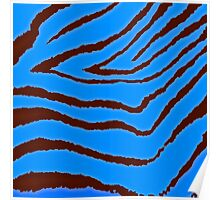 Zebra Blue and Brown Poster