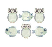 Three Cool Fish and Three Cool Owls by Jean Gregory  Evans