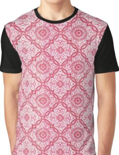 Red Portuguese Tile Pattern Graphic T-Shirt