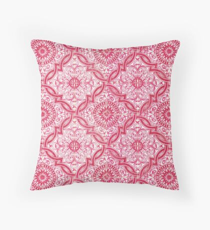 Red Portuguese Tile Pattern Throw Pillow