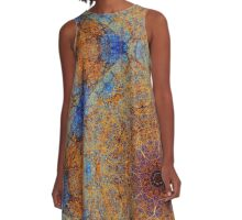 Intricate Boho Blue and Rust Lacy Kaleidoscope Mosaic A-Line Dress