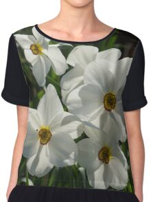 Sparkling, Fabulous White Narcissus with a Touch of Red Chiffon Top