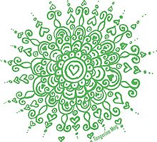 Heart Centred Mandala - green print by TangerineMeg