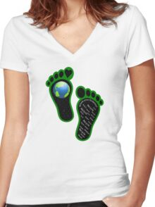Green Eco Earth's Footprints Women's Fitted V-Neck T-Shirt