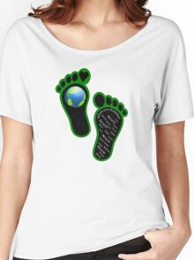 Green Eco Earth's Footprints Women's Relaxed Fit T-Shirt