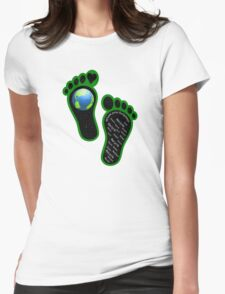Green Eco Earth's Footprints Womens Fitted T-Shirt