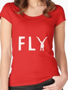 funny fly, girl upside down Women's Fitted Scoop T-Shirt