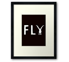 funny fly, girl upside down Framed Print