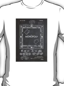 Monopoly Board Game US Patent Art 1935 Blackboard T-Shirt