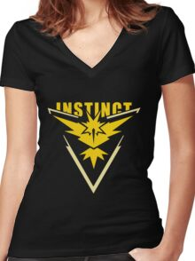 Team Instinct - Pokemon Go Women's Fitted V-Neck T-Shirt