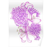 Violet Lilies and Dahlias Poster