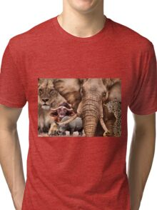 """A COLLAGE OF AFRICA'S """"BIG 5"""" -  Tri-blend T-Shirt"""