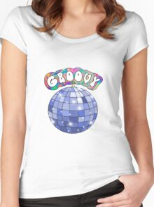 70s disco ball groovy Women's Fitted Scoop T-Shirt
