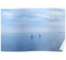 Couple Paddleboarding on Lake Ontario Poster