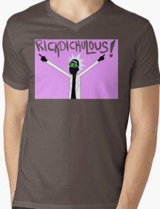 RICKDICKULOUS! - Color Text Mens V-Neck T-Shirt