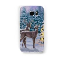 Whitetail Deer and Christmas Tree Winter Samsung Galaxy Case/Skin