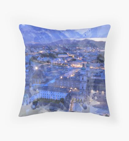 Salzburg Night Lights Print Throw Pillow