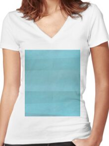 Teal Abstract Women's Fitted V-Neck T-Shirt