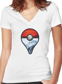 Pokemon Go Locations  Women's Fitted V-Neck T-Shirt