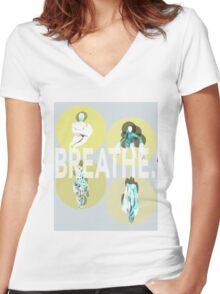 Breathe. (B) Women's Fitted V-Neck T-Shirt