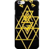Grunge Gold Triangles Black Background iPhone Case/Skin