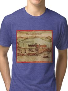Asilah Vintage map.Geography Morocco ,city view,building,political,Lithography,historical fashion,geo design,Cartography,Country,Science,history,urban Tri-blend T-Shirt