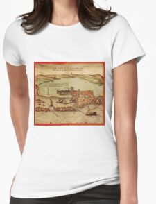 Asilah Vintage map.Geography Morocco ,city view,building,political,Lithography,historical fashion,geo design,Cartography,Country,Science,history,urban Womens Fitted T-Shirt