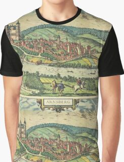 Arnsberg Vintage map.Geography Germany ,city view,building,political,Lithography,historical fashion,geo design,Cartography,Country,Science,history,urban Graphic T-Shirt