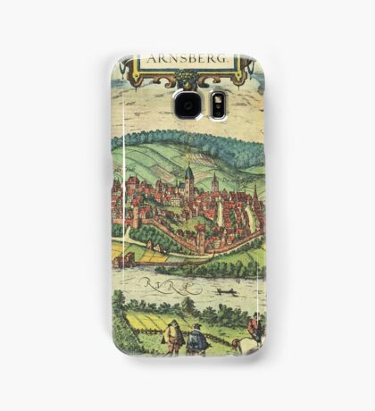 Arnsberg Vintage map.Geography Germany ,city view,building,political,Lithography,historical fashion,geo design,Cartography,Country,Science,history,urban Samsung Galaxy Case/Skin
