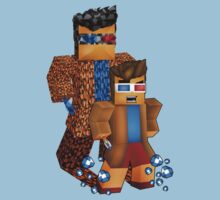 8bit boy with 10th Doctor shadow Kids Tee