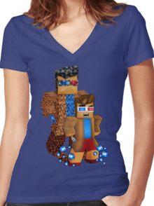 8bit boy with 10th Doctor shadow Women's Fitted V-Neck T-Shirt