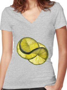 Cool lime twist Women's Fitted V-Neck T-Shirt