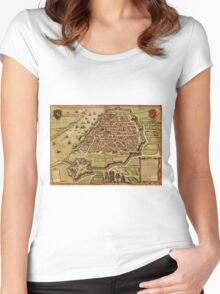 Antwerpen Vintage map.Geography Belgium ,city view,building,political,Lithography,historical fashion,geo design,Cartography,Country,Science,history,urban Women's Fitted Scoop T-Shirt