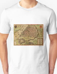 Antwerpen Vintage map.Geography Belgium ,city view,building,political,Lithography,historical fashion,geo design,Cartography,Country,Science,history,urban Unisex T-Shirt