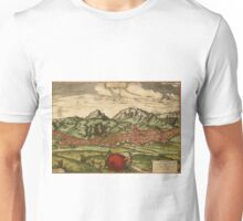 Antequera Vintage map.Geography Spain ,city view,building,political,Lithography,historical fashion,geo design,Cartography,Country,Science,history,urban Unisex T-Shirt