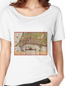 Ancona Vintage map.Geography Italy ,city view,building,political,Lithography,historical fashion,geo design,Cartography,Country,Science,history,urban Women's Relaxed Fit T-Shirt