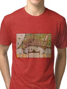 Ancona Vintage map.Geography Italy ,city view,building,political,Lithography,historical fashion,geo design,Cartography,Country,Science,history,urban Tri-blend T-Shirt