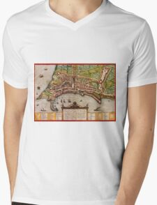 Ancona Vintage map.Geography Italy ,city view,building,political,Lithography,historical fashion,geo design,Cartography,Country,Science,history,urban Mens V-Neck T-Shirt