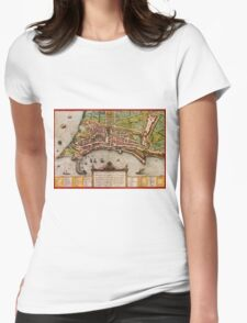 Ancona Vintage map.Geography Italy ,city view,building,political,Lithography,historical fashion,geo design,Cartography,Country,Science,history,urban Womens Fitted T-Shirt
