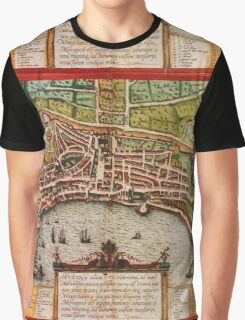 Ancona Vintage map.Geography Italy ,city view,building,political,Lithography,historical fashion,geo design,Cartography,Country,Science,history,urban Graphic T-Shirt