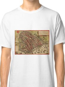 Amsterdam Vintage map.Geography Netherlands ,city view,building,political,Lithography,historical fashion,geo design,Cartography,Country,Science,history,urban Classic T-Shirt