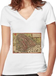 Amsterdam Vintage map.Geography Netherlands ,city view,building,political,Lithography,historical fashion,geo design,Cartography,Country,Science,history,urban Women's Fitted V-Neck T-Shirt