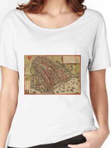 Amsterdam Vintage map.Geography Netherlands ,city view,building,political,Lithography,historical fashion,geo design,Cartography,Country,Science,history,urban Women's Relaxed Fit T-Shirt