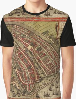 Amsterdam Vintage map.Geography Netherlands ,city view,building,political,Lithography,historical fashion,geo design,Cartography,Country,Science,history,urban Graphic T-Shirt