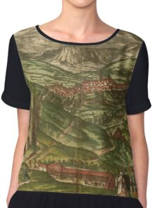 Alham Vintage map.Geography Germany ,city view,building,political,Lithography,historical fashion,geo design,Cartography,Country,Science,history,urban Chiffon Top