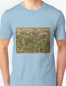 Alham Vintage map.Geography Germany ,city view,building,political,Lithography,historical fashion,geo design,Cartography,Country,Science,history,urban Unisex T-Shirt