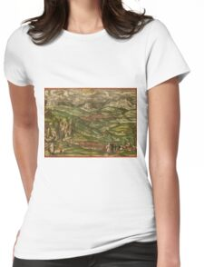 Alham Vintage map.Geography Germany ,city view,building,political,Lithography,historical fashion,geo design,Cartography,Country,Science,history,urban Womens Fitted T-Shirt